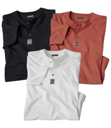 Pack of 3 Men's Cotton T-Shirts - Black White Orange