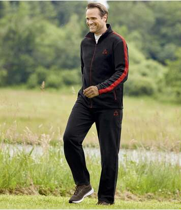 Men's Sporty Fleece Tracksuit - Black Red
