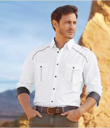 Men's White Rodeo Poplin Shirt