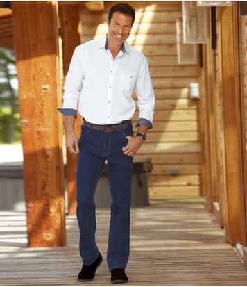 Modré strečové džínsy Regular