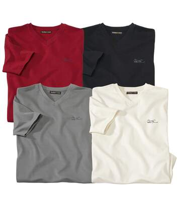 Pack of 4 Men's Plain T-Shirts - Red Grey Ecru Black