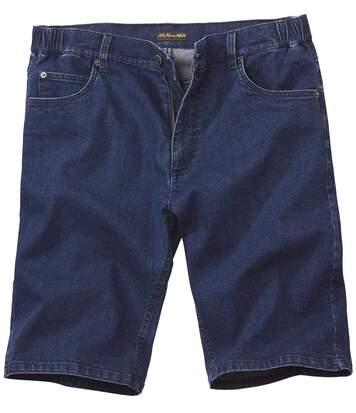 Men's Dark Blue Stretch Denim Bermuda Shorts