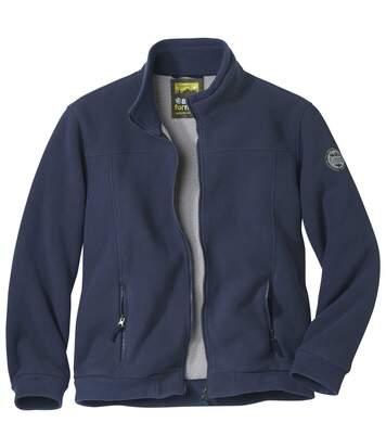 Men's Fleece Full Zip Winter Jacket - Sherpa Lining - Navy