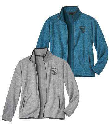 Pack of 2 Men's Brushed Fleece Jackets - Full Zip - Grey Blue