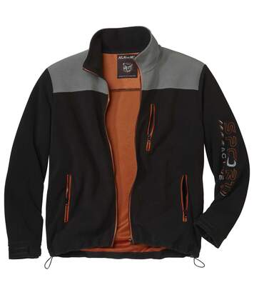 Men's Mesh-Lined Fleece Sports Jacket - Black, Grey - Full Zip