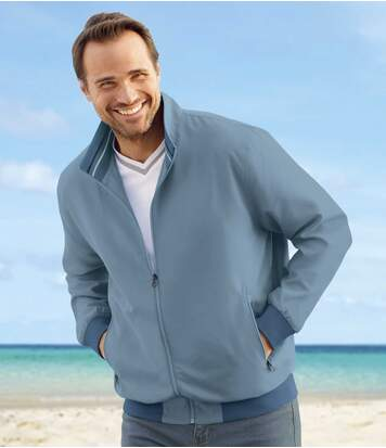 Men's Blue Microfibre Full Zip Summer Jacket - Water-Repellent