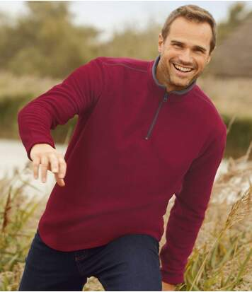 Pack of 2 Men's Microfleece Jumpers - Burgundy Grey