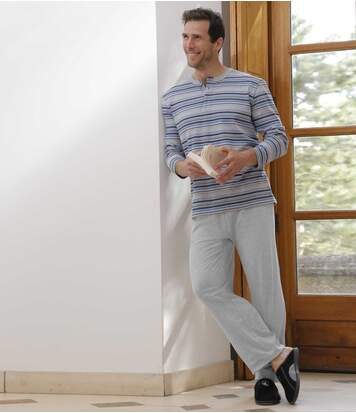 Men's Striped Grey Pyjama Set