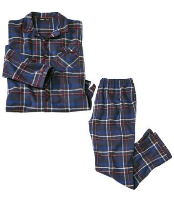 Men's Checked Long-Sleeved Flannel Pyjamas - Blue