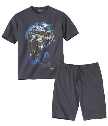 Men's Wolf Print Short Pyjama Set - Grey