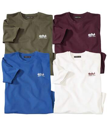 Pack of 4 Men's Winter Adventure T-Shirts - Burgundy Khaki Ecru Blue