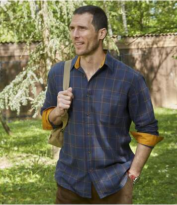 Men's Highlands Flannel Shirt - Navy Ochre