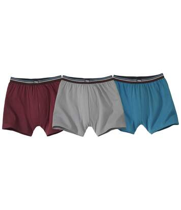 Pack of 3 Men's Classic Boxer Shorts - Grey Burgundy Turquoise