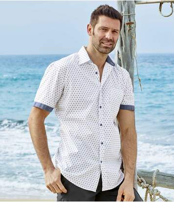 Men's White Patterned Summer Shirt