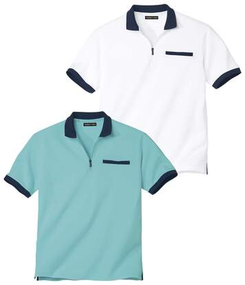 Pack of 2 Men's Zip-Up Polo Shirts - Turquoise White