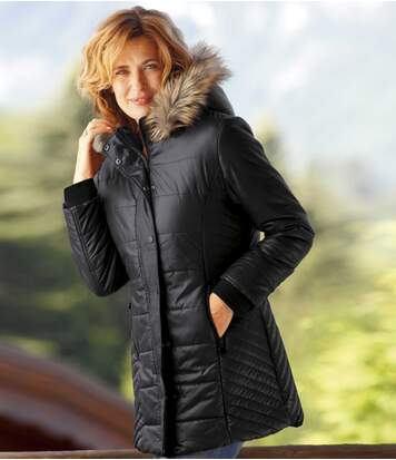 Women's Black Padded Parka with Faux Fur Hood