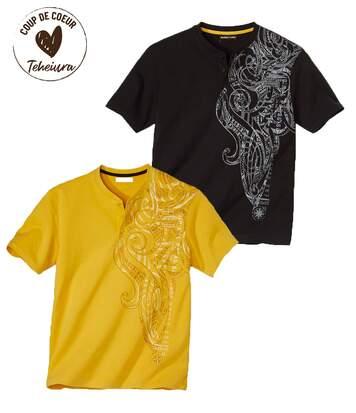 Lot de 2 Tee-Shirts Col Tunisien Imprimé Maori