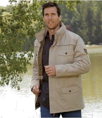 Men's Beige Western Legend Multi-Pocket Parka