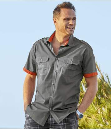 Men's Grey Aviator-Style Shirt