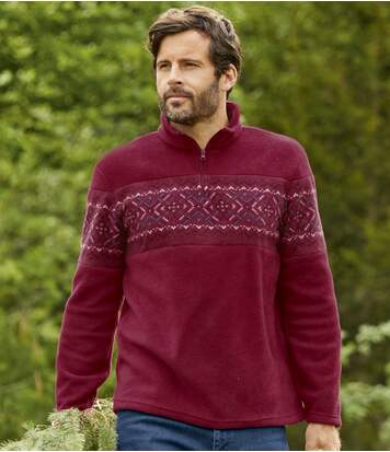 Men's Burgundy Fleece Jumper - Patterned