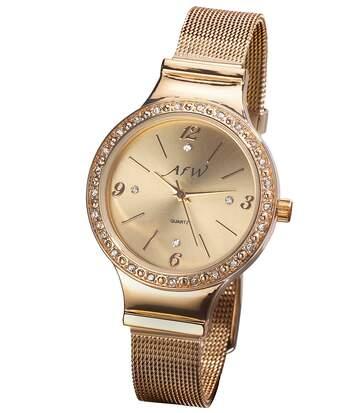 Zlatisté hodinky Zdobené kryštálikmi Swarovski®