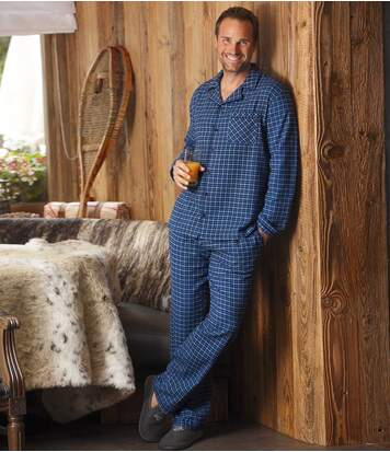 Flanellen pyjama met vichyruitjes