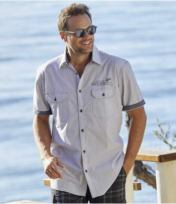 Men's Poplin Tropical Surf Shirt - White with Grey Stripes