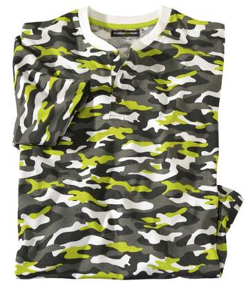 T-shirt met Tunesische hals en camouflageprint