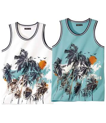 Pack of 2 Men's Printed Vests - White Turquoise