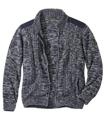 Trykotowy, casualowy sweter z suwakiem