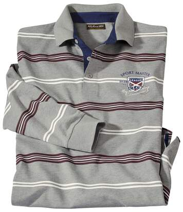 Men's Grey Striped Rugby Polo Shirt