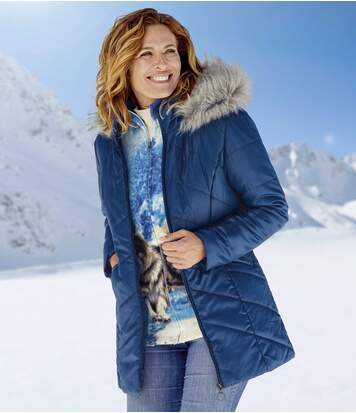 Women's Blue Coat with Faux Fur Hood