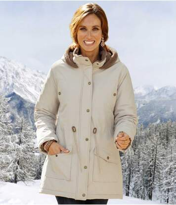 Women's Stylish Cream Winter Coat