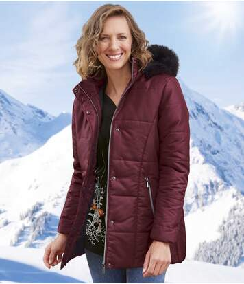 Women's Burgundy Quilted Parka - Faux Fur Hood