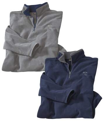 Pack of 2 Men's Micro-Fleece Polos - Navy White