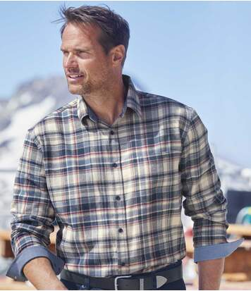 Men's Checked Flannel Shirt with Chambray Details - Blue Ecru