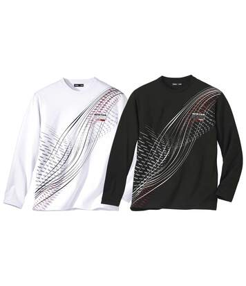 Pack of 2 Men's Graphic Print Long-Sleeved Tops - Black White