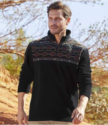 Men's Black Navajo Fleece Jumper - Half Zip