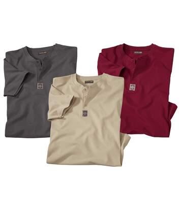 Zestaw 3 t-shirtów z dekoltem henley