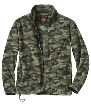 Men's Camouflage Microfleece Full Zip Jacket - Khaki