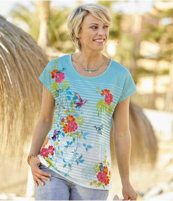 Women's T-Shirt with Drop Sleeves - Blue