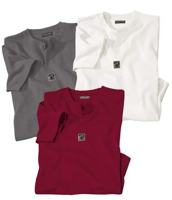 Pack of 3 Men's Plain T-Shirts - Grey White Red