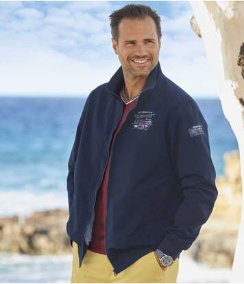 Men's Navy Water-Repellent Summer Jacket - Full Zip