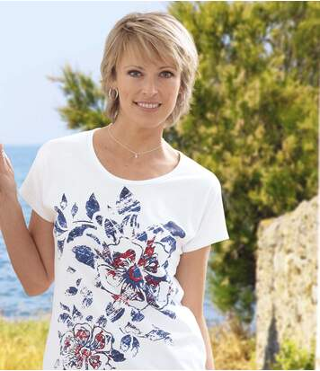 Women's White T-Shirt with Flower Pattern
