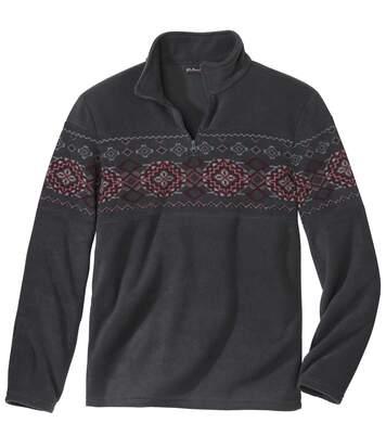 Jacquard mintás cipzáras polár pulóver