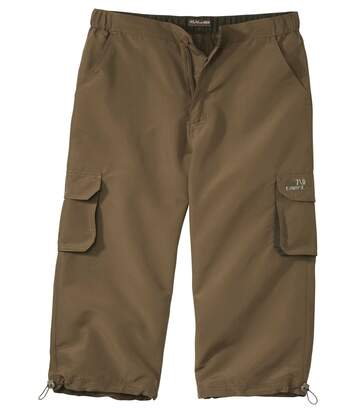 Men's Multi-Pocket Cropped Trousers - Brown