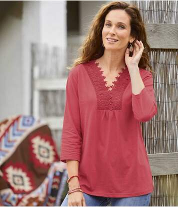 Women's Pink Macramé Top - Slub Cotton