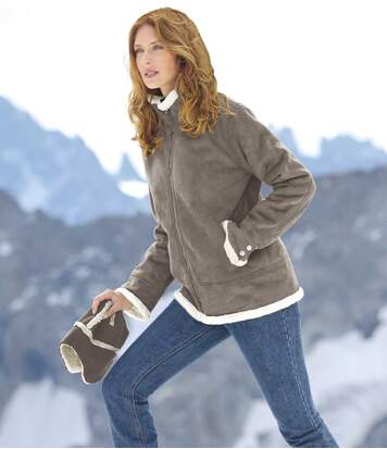 Women's Grey Faux Suede Jacket with Sherpa Lining