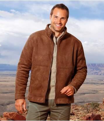 Kurtka ze sztucznego zamszu i kożuszka sherpa
