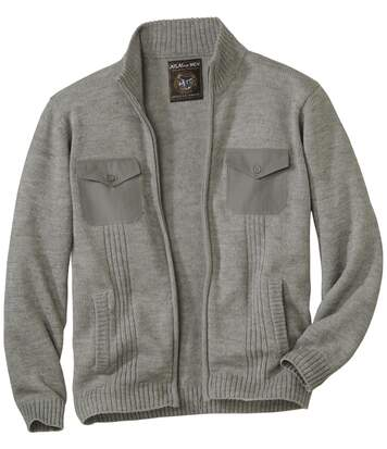 Gilet Tricot Homme Gris Multipoche